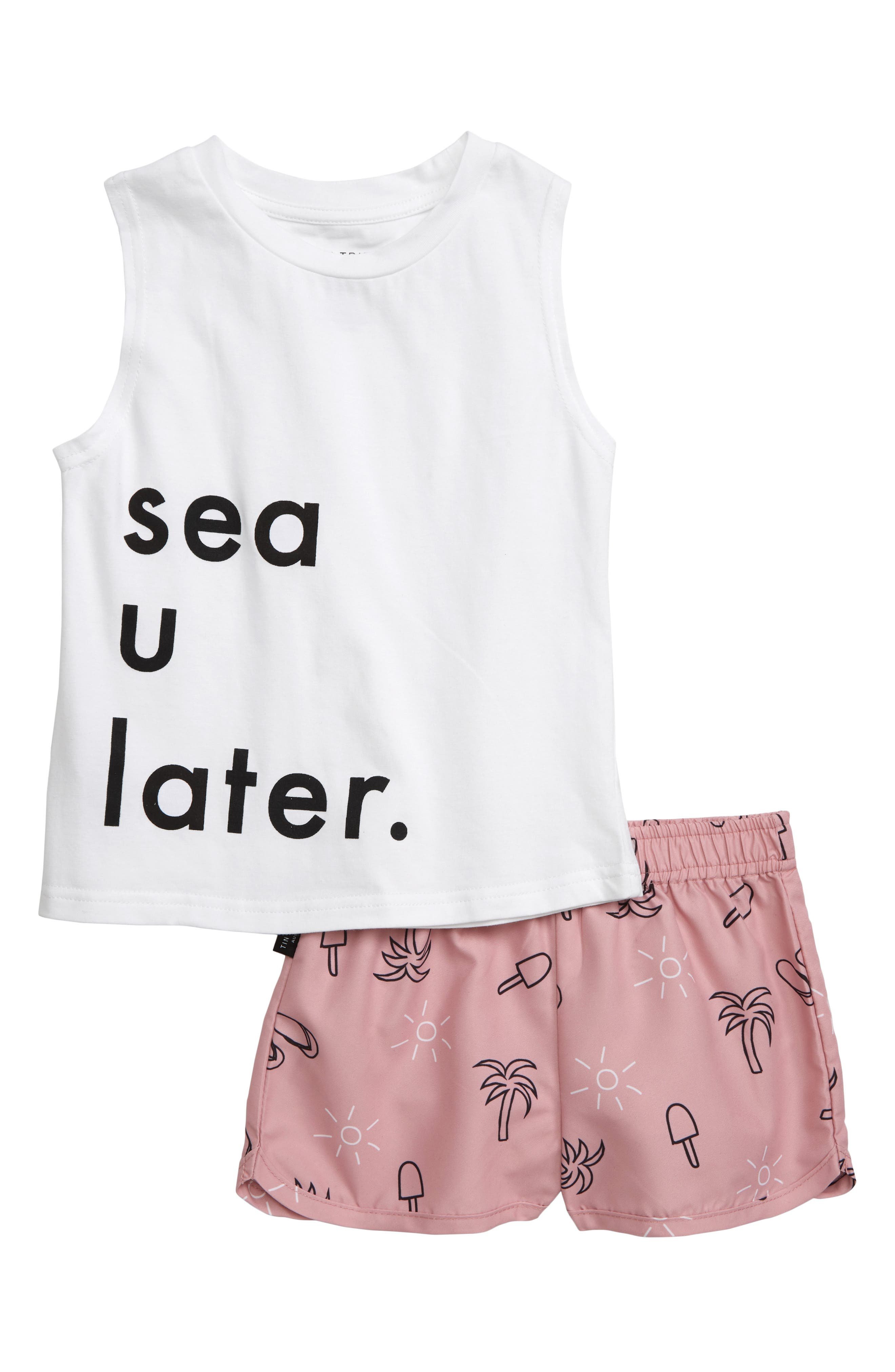 Toddler Girls Tiny Tribe Sea U Tank  Shorts Set