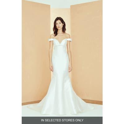 Nouvelle Amsale Val Off The Shoulder Mikado Trumpet Wedding Dress, Size - Ivory