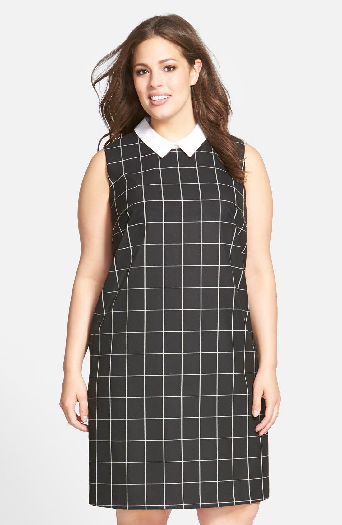 Plus Size Women's Halogen Removable Collar Check Shift Dress