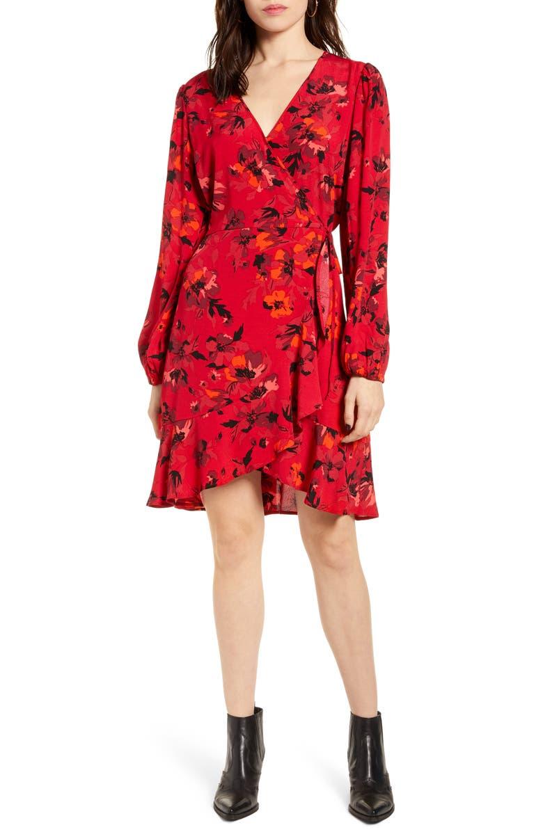 BAND OF GYPSIES Le Flirteur Long Sleeve Dress, Main, color, CRIMSON CORAL