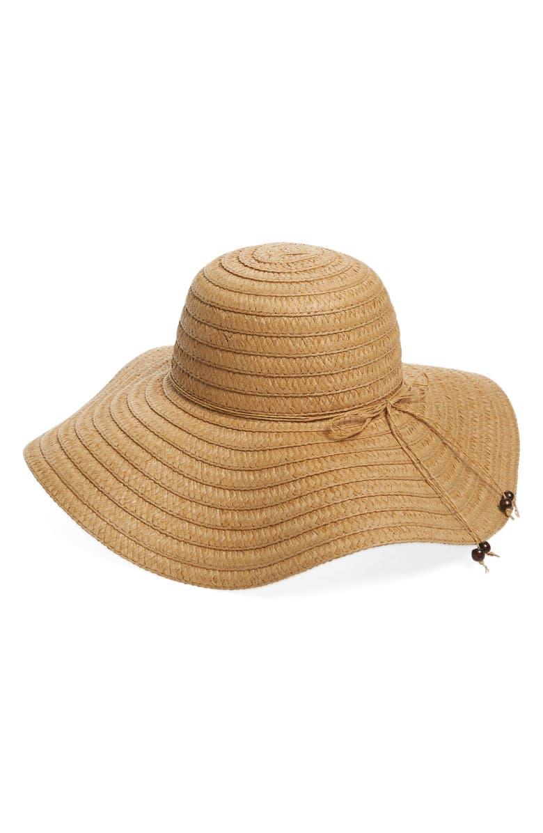 EMANUEL GERALDO Floppy Straw Hat, Main, color, 250