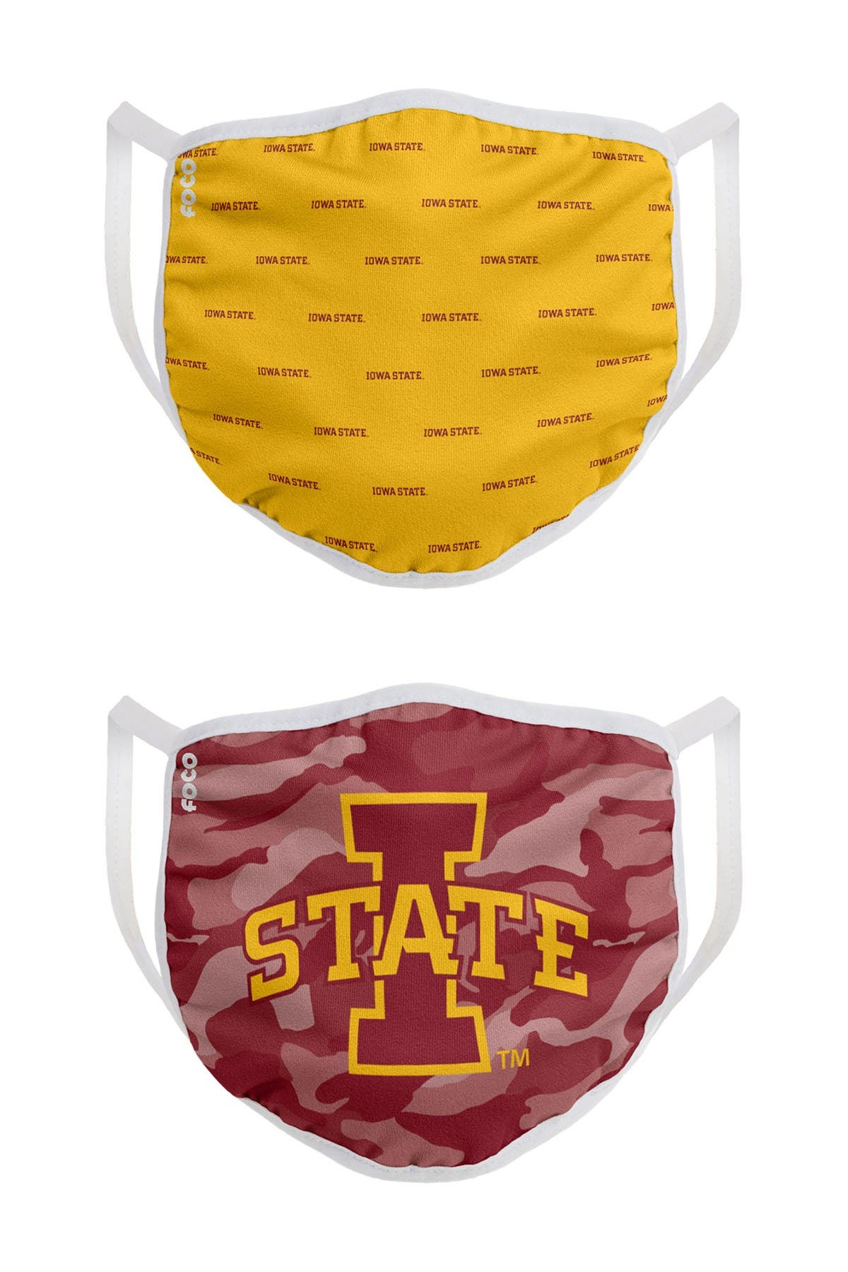 Image of FOCO NCAA Iowa State Clutch Printed Face Cover - Pack of 2