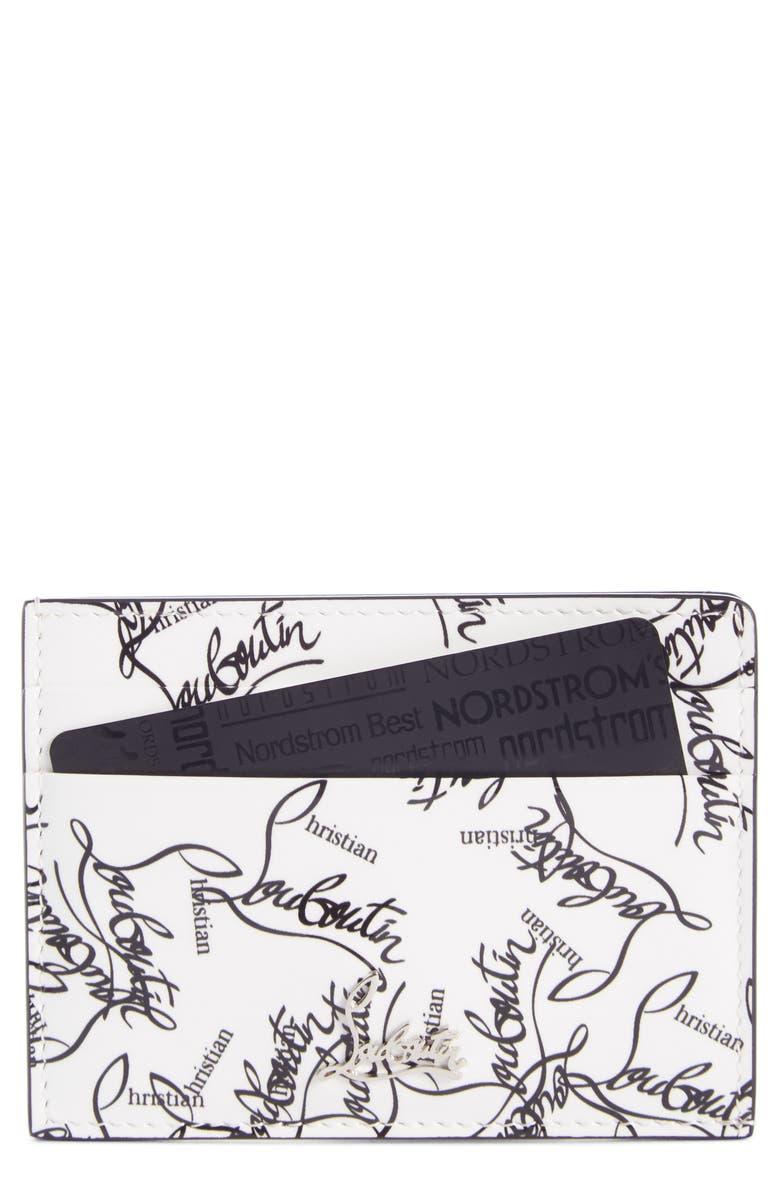 CHRISTIAN LOUBOUTIN Kios Leather Card Case, Main, color, SNOW/ BLACK