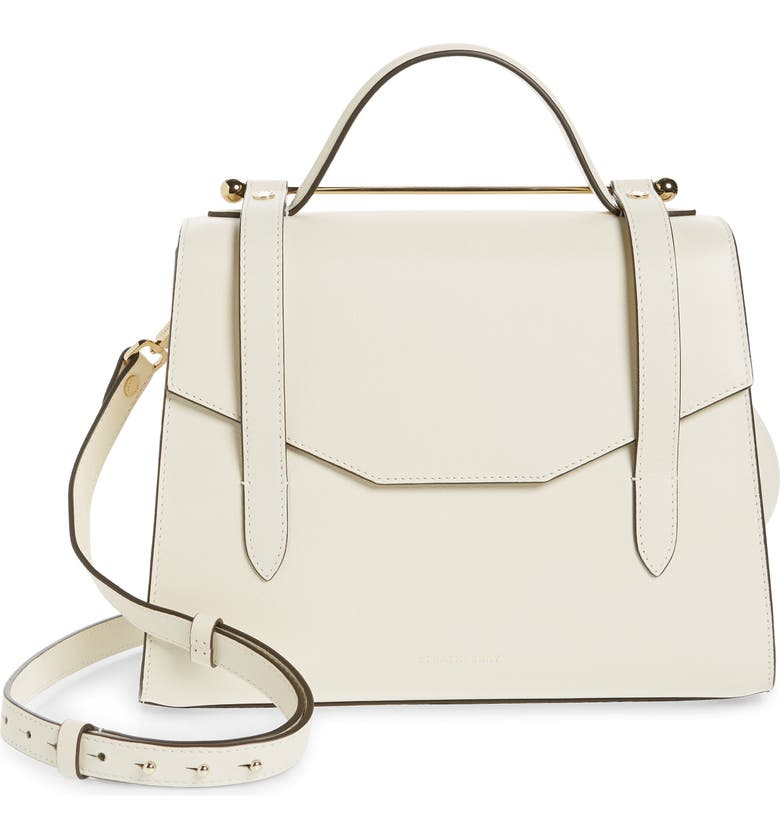 STRATHBERRY Midi Allegro Calfskin Leather Satchel, Main, color, VANILLA