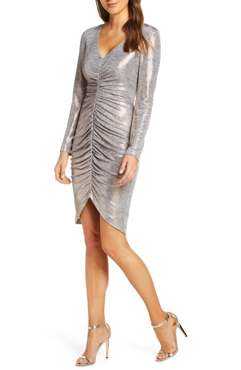VINCE CAMUTO Ruched Metallic Long Sleeve Cocktail Dress, Main, color, BRONZE