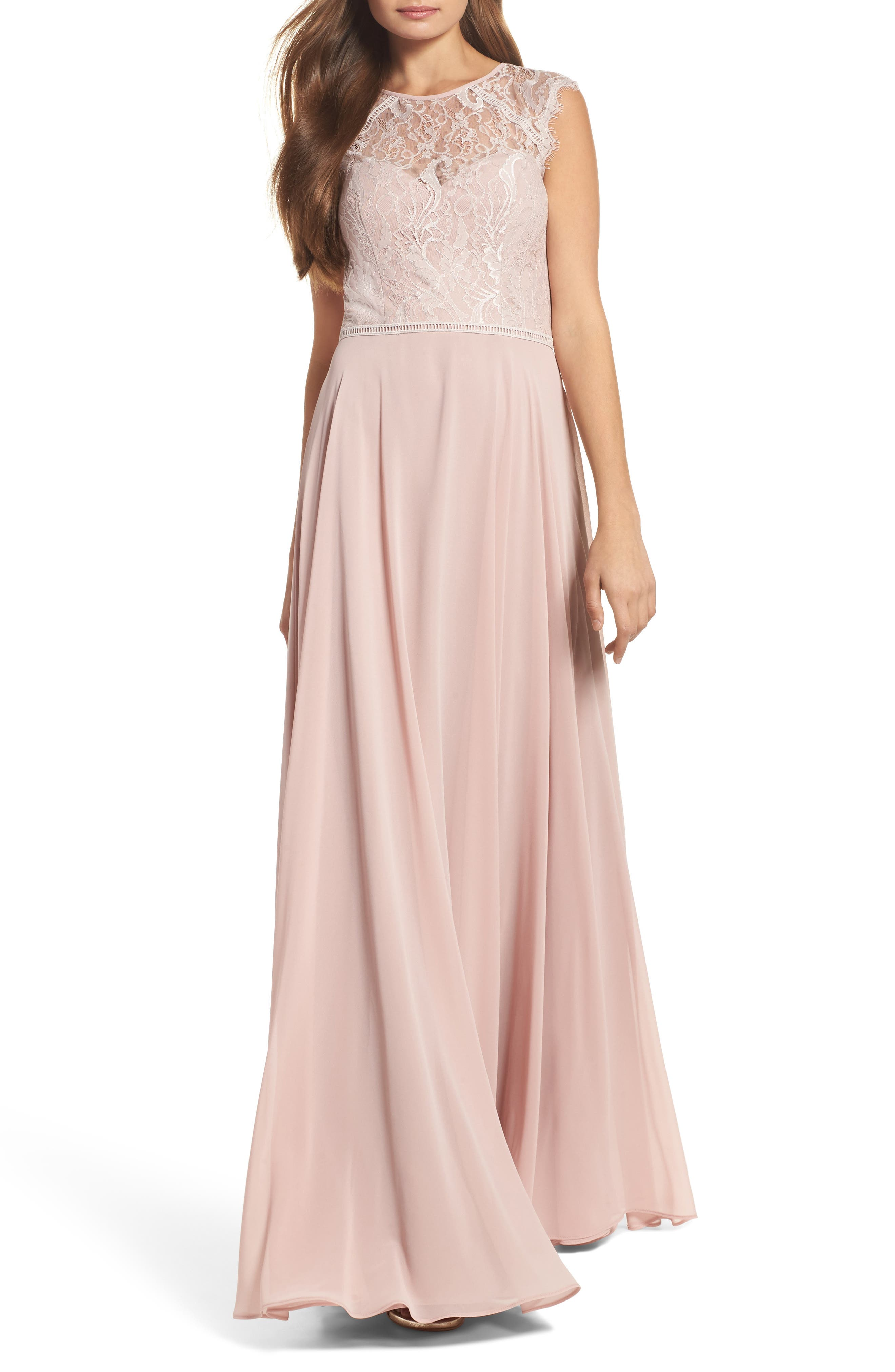 Hayley Paige Occasions Lace & Chiffon Gown, Pink