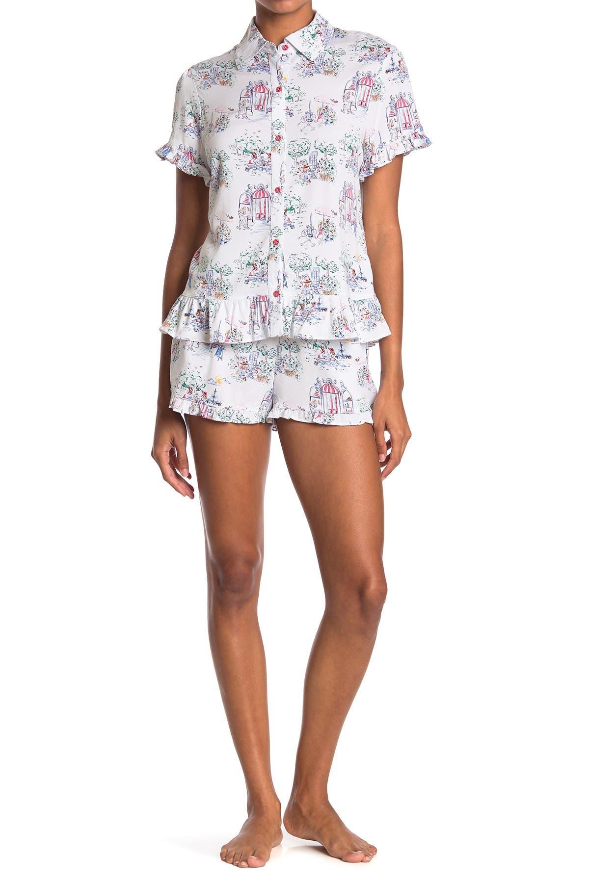 Image of Jane & Bleecker New York Cozy Patterned 2-Piece Ruffle Frill Pajama Set