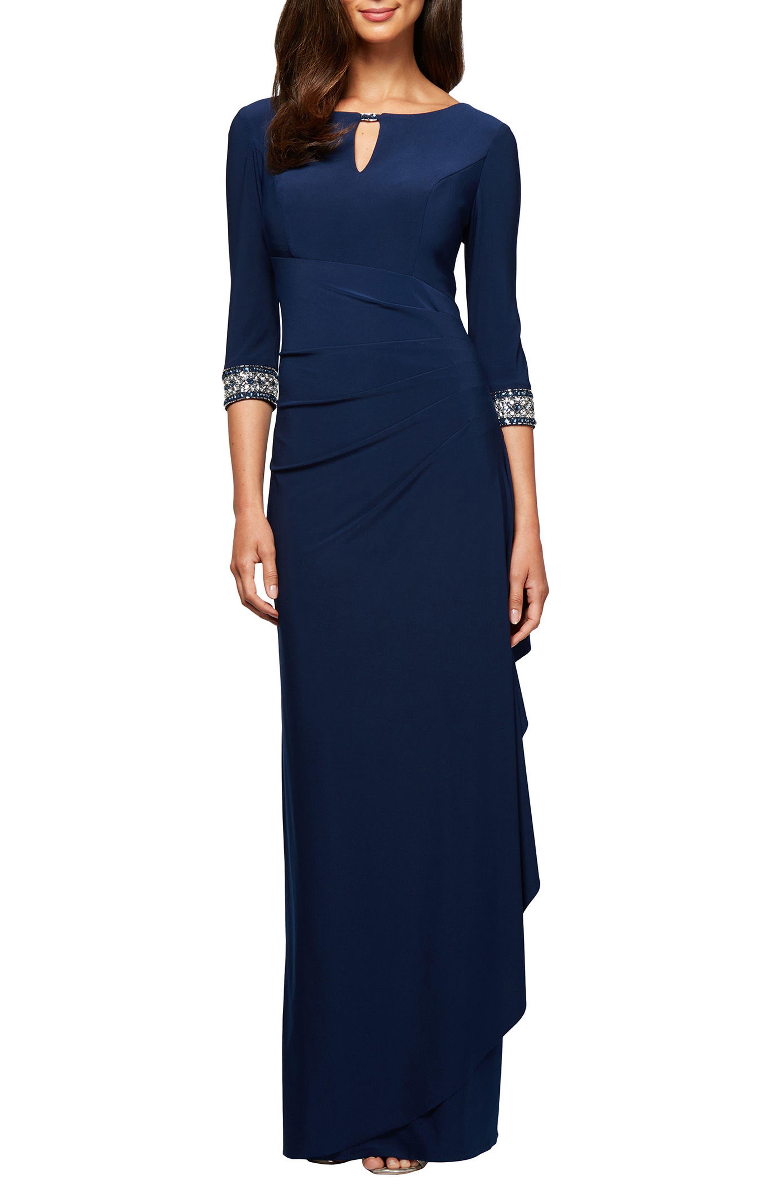 Jeweled Cuff Column Gown