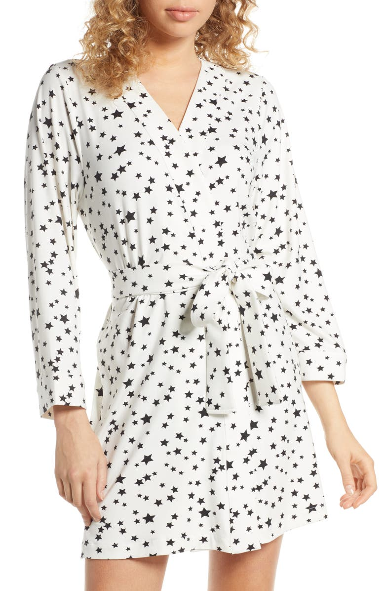 MASONGREY Claire Classic Short Robe, Main, color, WHITE STARS