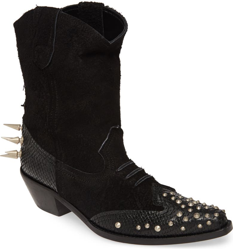 JUNYA WATANABE Spiked Ankle Cowboy Boots, Main, color, BLACK