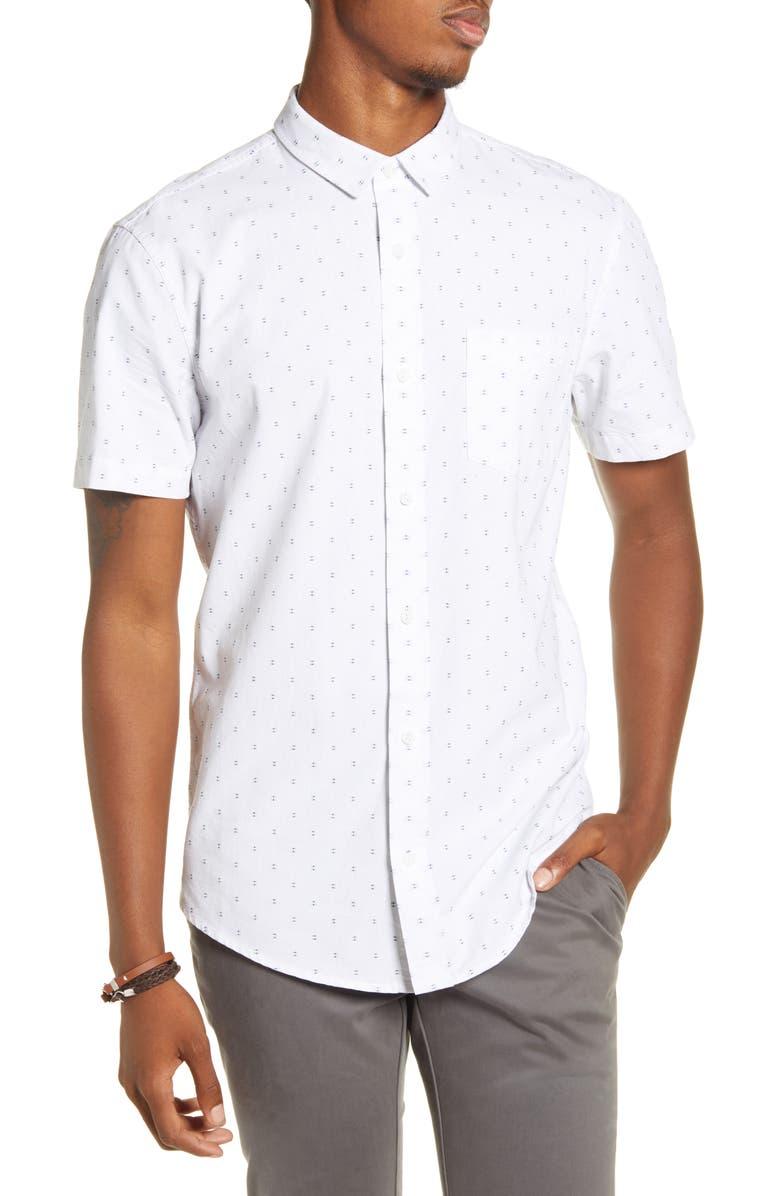BP. Dobby Short Sleeve Button-Up Shirt, Main, color, WHITE/NAVY DOBBY
