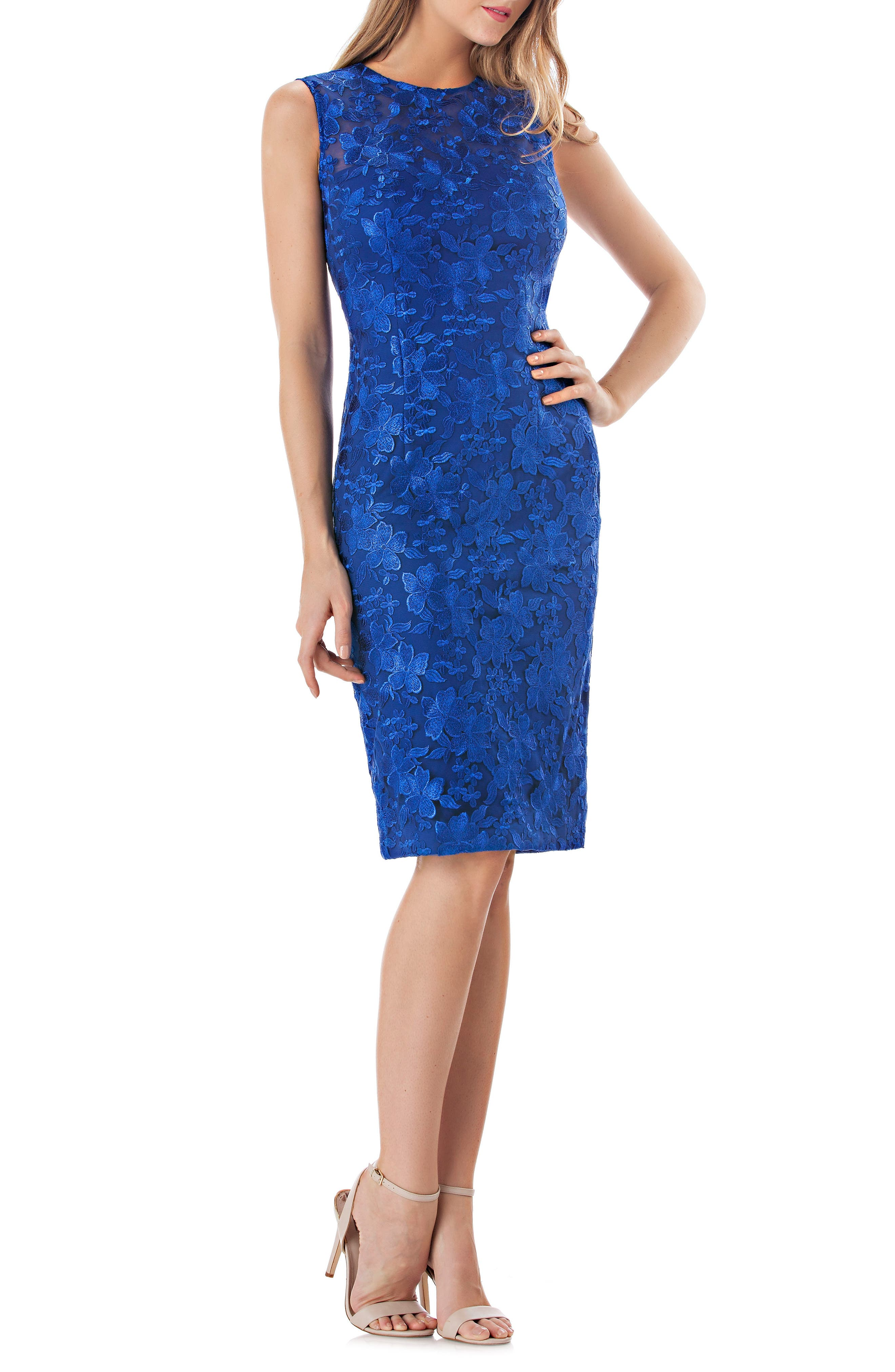 Carmen Marc Valvo Infusion Embroidered Sheath Dress, Blue