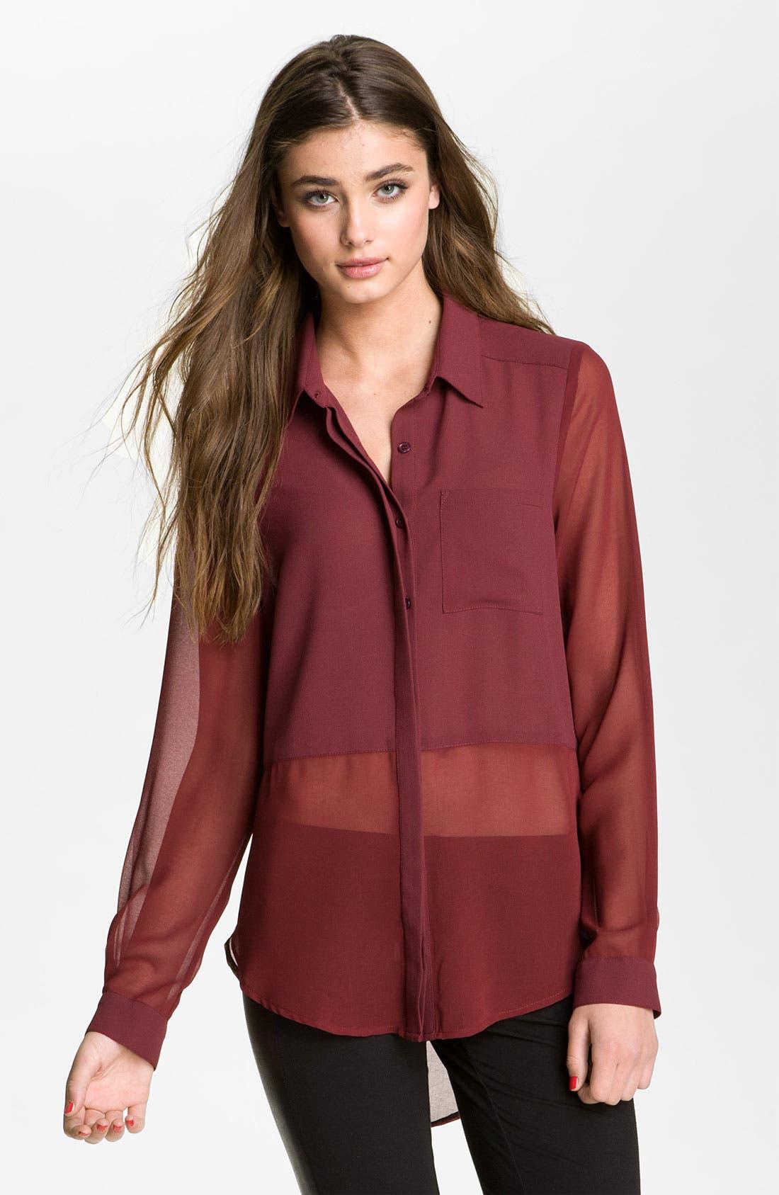 ,                             Lush Sheer Panel High/Low Shirt,                             Main thumbnail 25, color,                             930