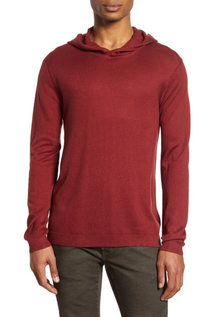 John Varvatos Diagonal Stitch Hooded Sweater In Red Clay
