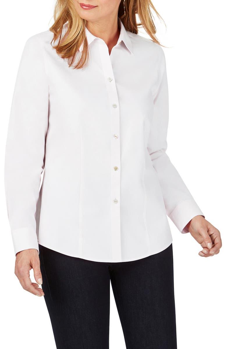 FOXCROFT Dianna Non-Iron Cotton Shirt, Main, color, WHITE
