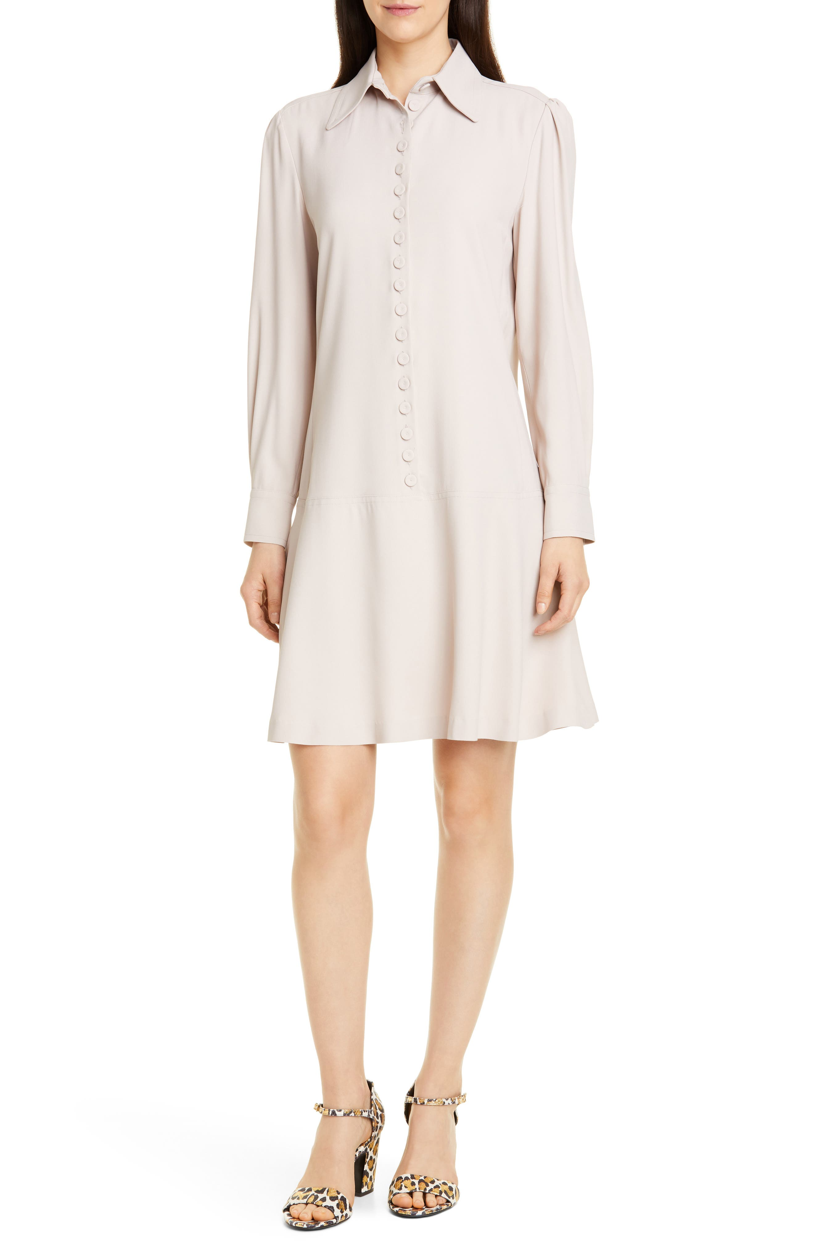 60s Wedding Dresses | 70s Wedding Dresses Womens Seventy Drop Waist Shirtdress $425.00 AT vintagedancer.com