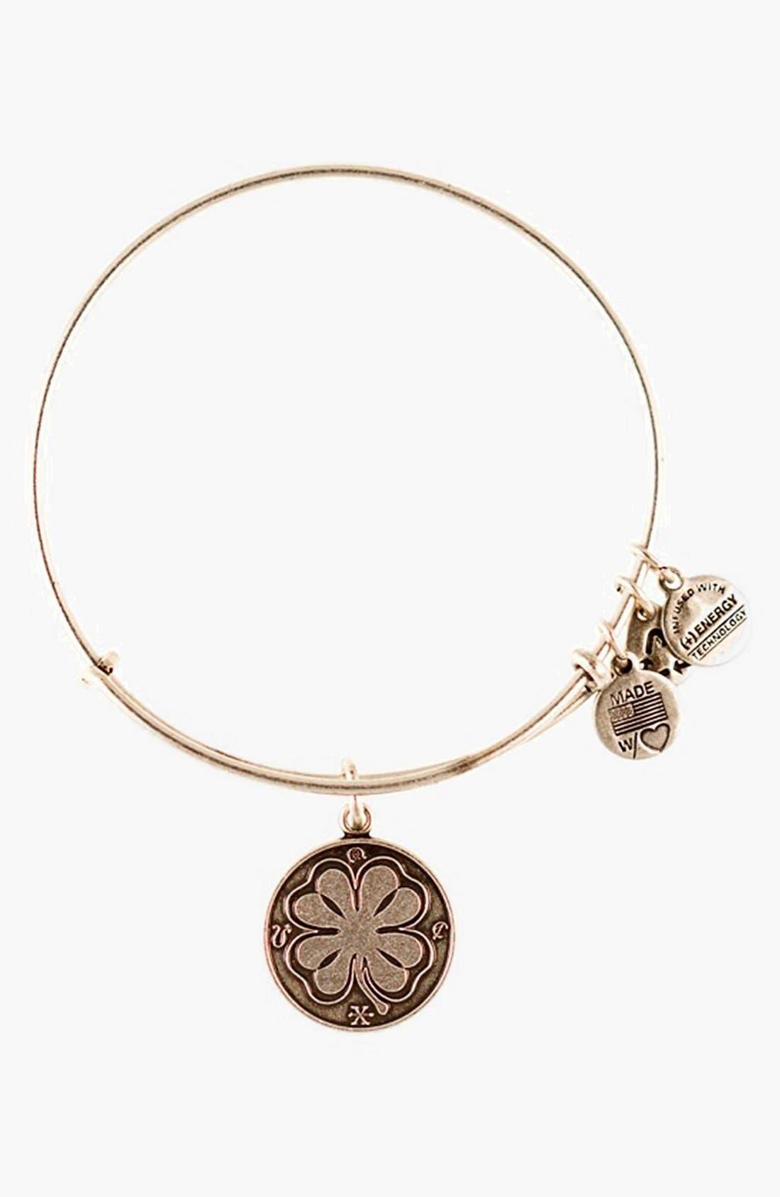 'Four Leaf Clover' Expandable Wire Bracelet, Main, color, 040