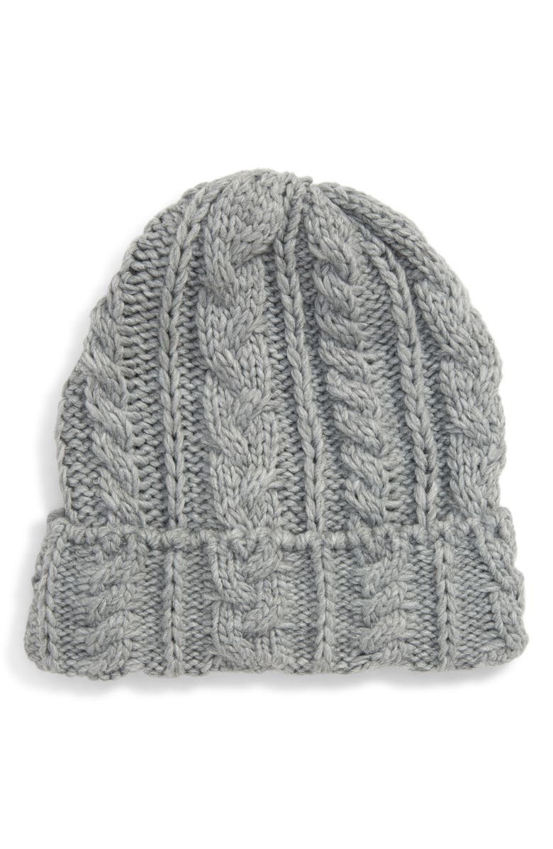 TOPSHOP Cable Knit Beanie, Main, color, 020