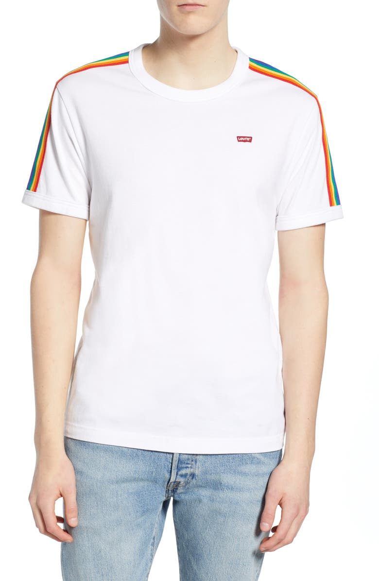 LEVI'S<SUP>®</SUP> Pride Ringer T-Shirt, Main, color, WHITE W/ RAINBOW TAPE