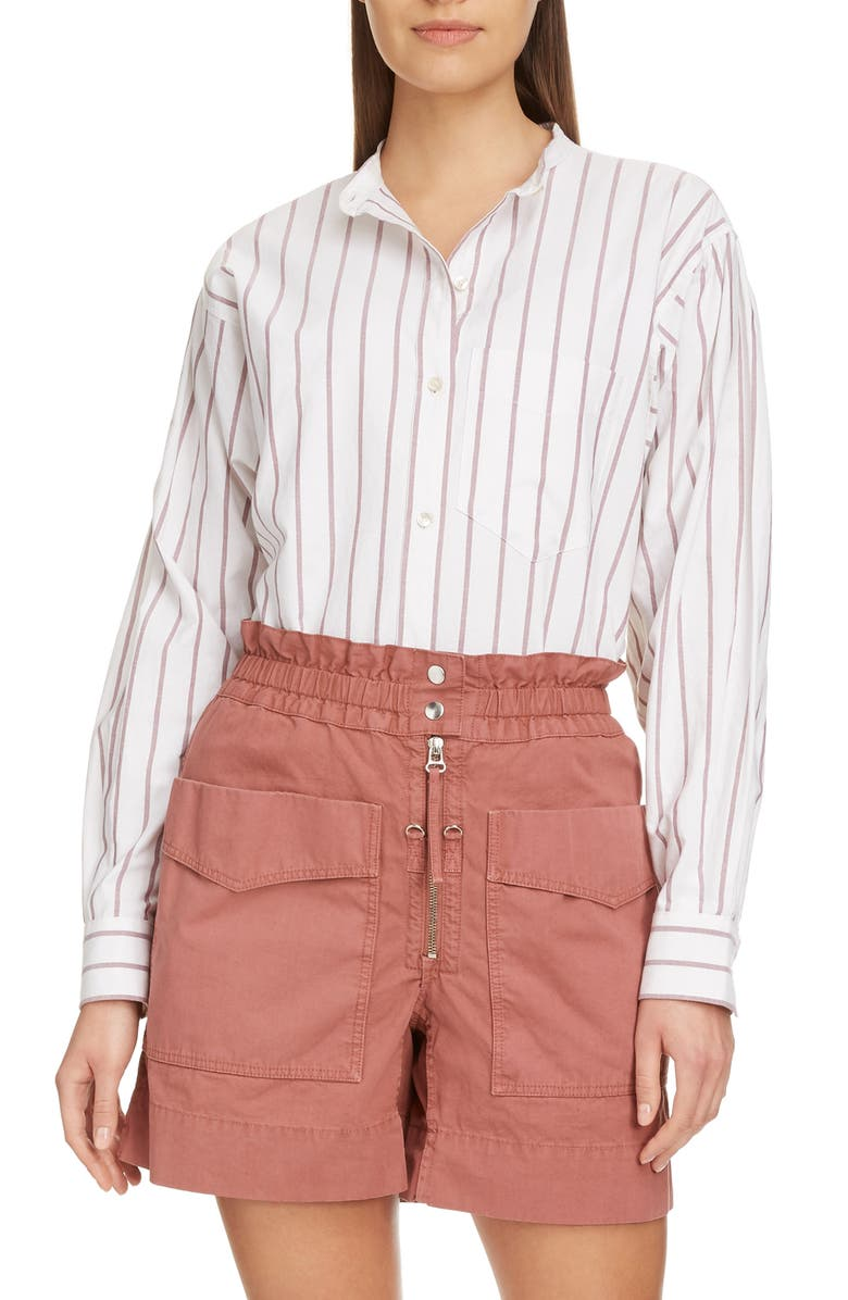 ISABEL MARANT ÉTOILE Satchell Stripe Shirt, Main, color, BURGUNDY