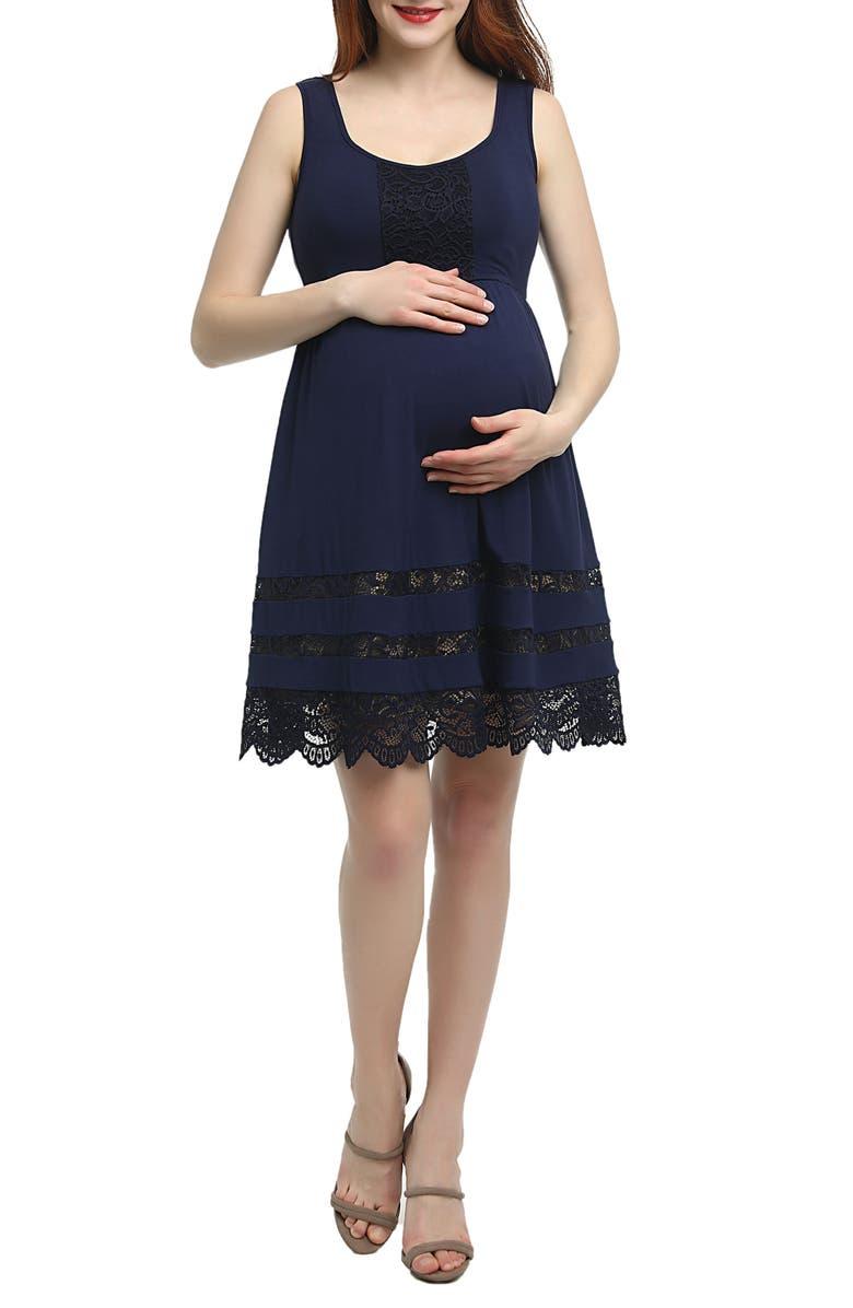 KIMI AND KAI Savana Lace Trim Maternity Skater Dress, Main, color, NAVY