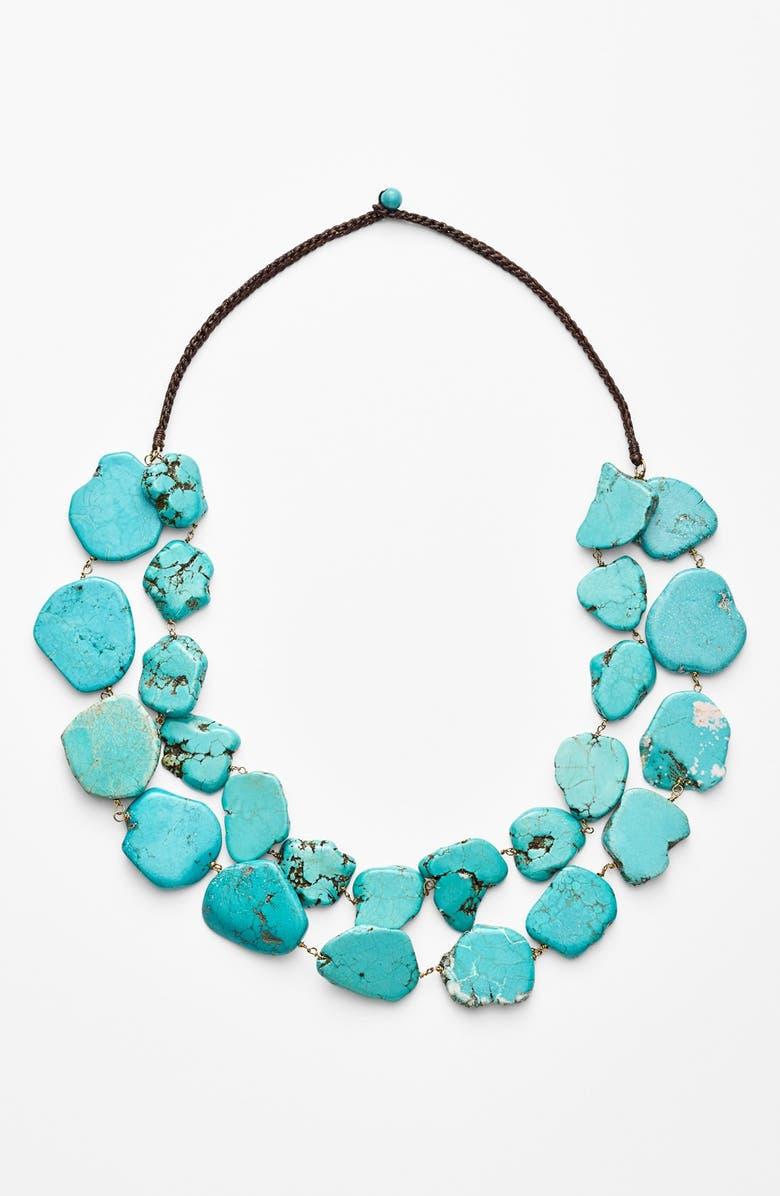 PANACEA Chunky Double Row Howlite Necklace, Main, color, 440