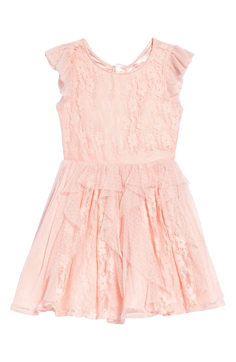BCBG GIRLS Crepe Lace Fit & Flare Dress, Main, color, RPL-ROSE PETAL