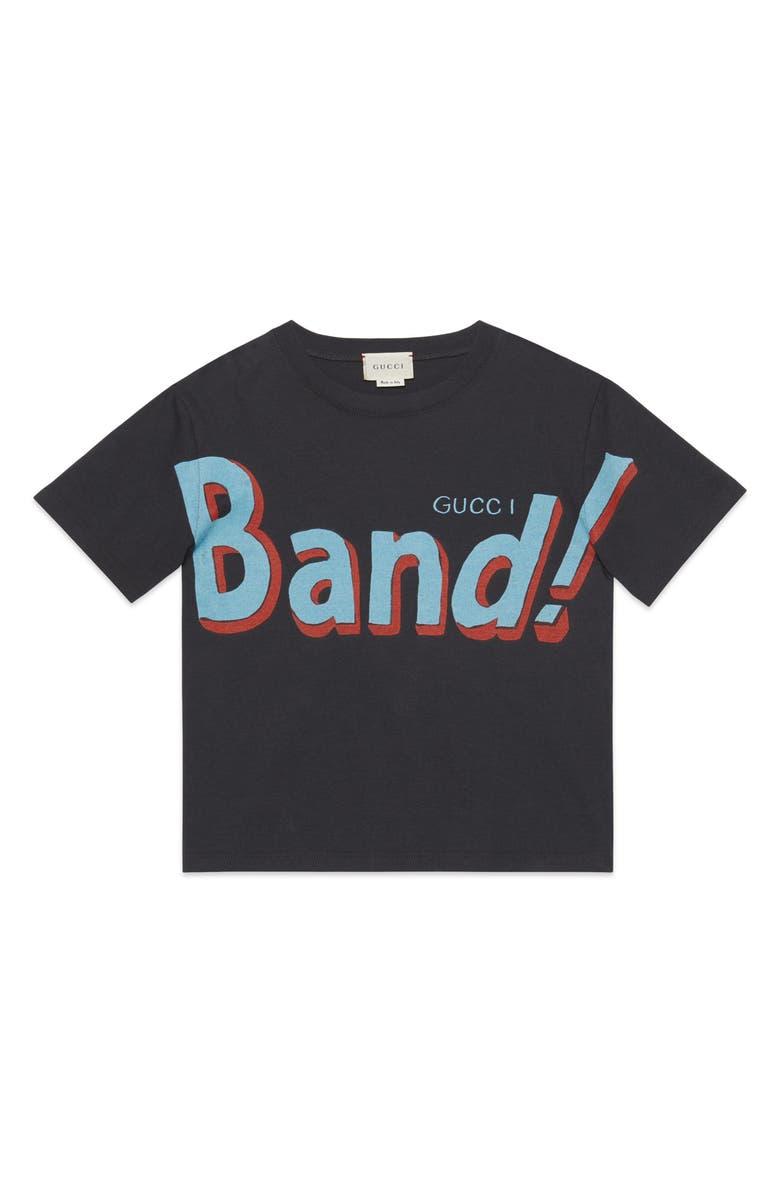 GUCCI Band Graphic Tee, Main, color, VINTAGE DARK GREY