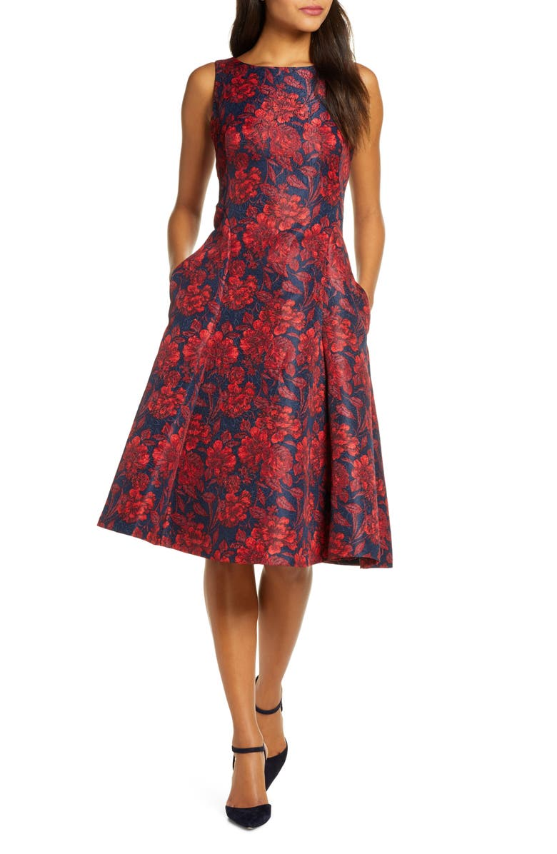 MAISON TARA Floral Print Jacquard Fit & Flare Dress, Main, color, 628