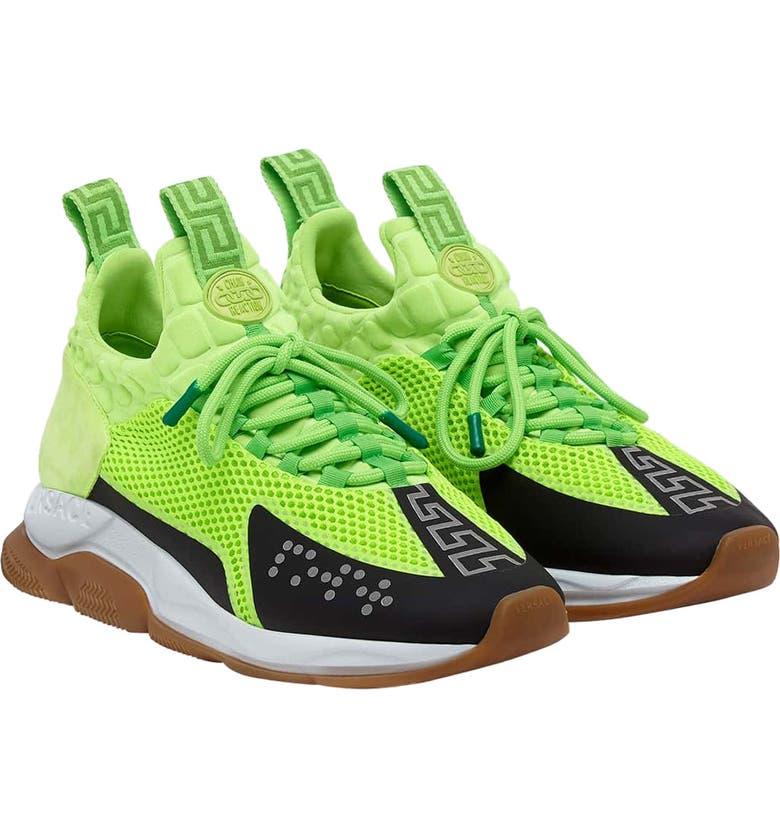 VERSACE Cross Chainer Neoprene Sneaker, Main, color, LIME/ NERO