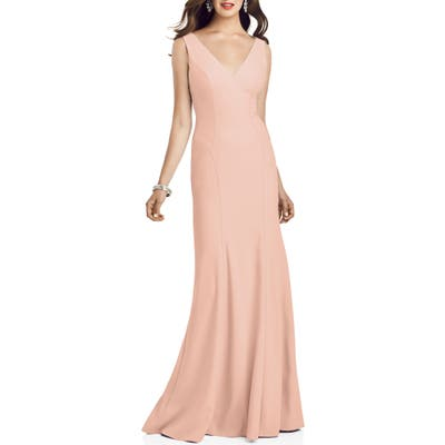 Dessy Collection Crepe Trumpet Gown, Pink