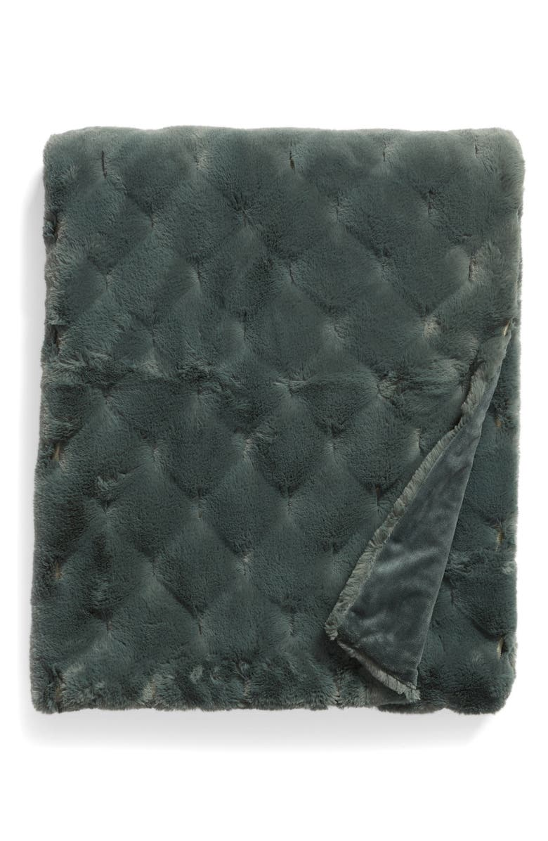 NORDSTROM Geo Jacquard Faux Fur Throw, Main, color, GREEN BALSAM
