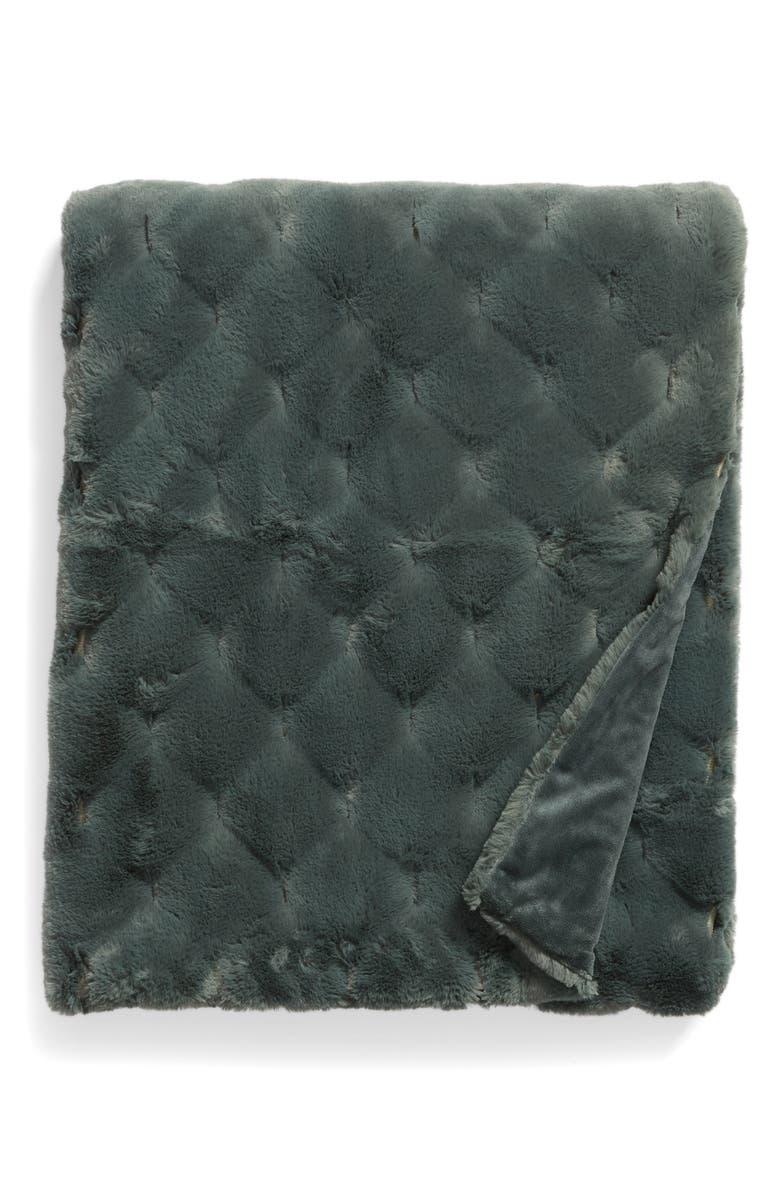 NORDSTROM Geo Jacquard Faux Fur Throw, Main, color, GREEN BALSAM