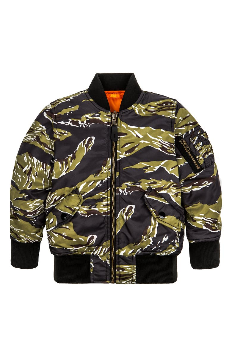 ALPHA INDUSTRIES MA-1 Water Resistant Flight Jacket, Main, color, TIGER CAMO