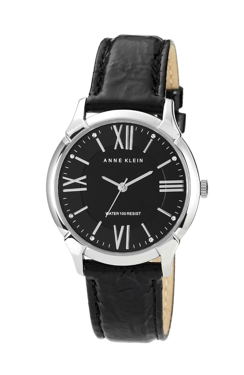 ANNE KLEIN Roman Numeral Patent Leather Watch, Main, color, 001
