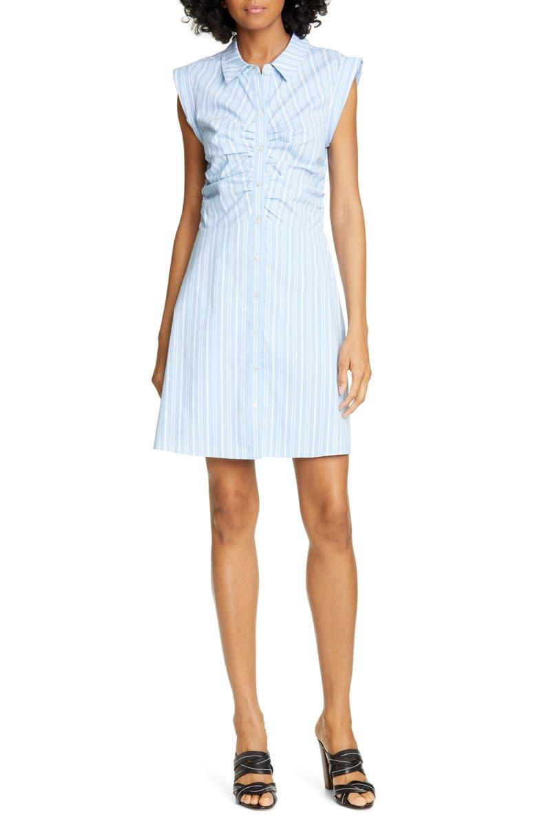 VERONICA BEARD Ferris Ruched Stretch Poplin Shirtdress, Main, color, BLUE MULTI