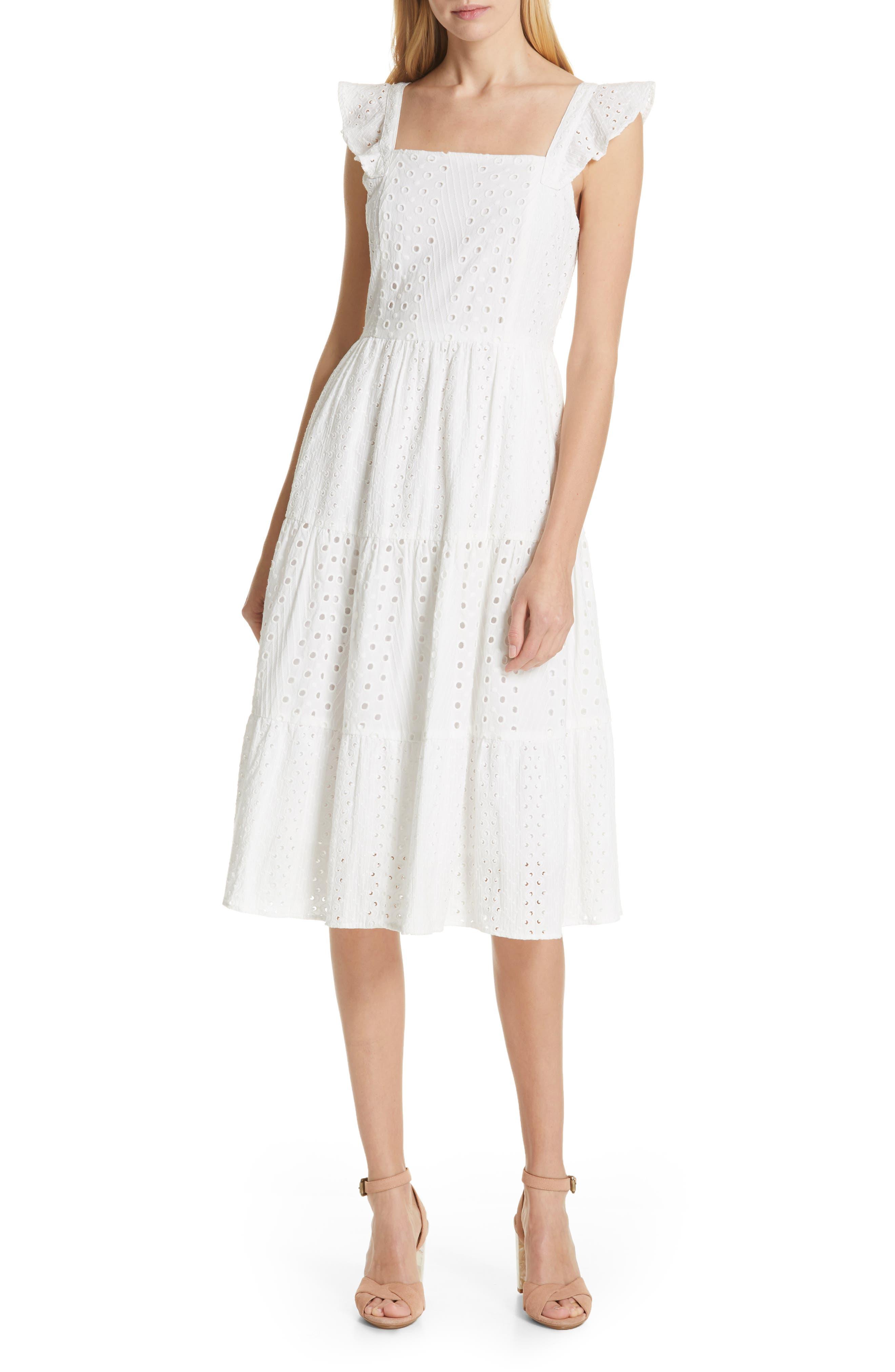 Dolan Emmylou Tiered Eyelet Midi Sundress, White
