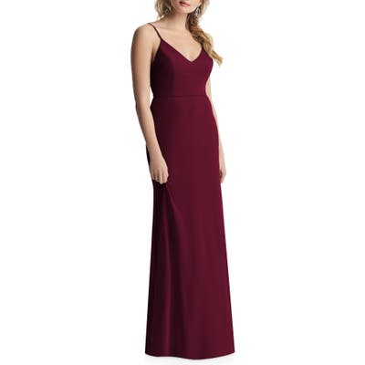 After Six Cowl Back Chiffon Trumpet Gown, Burgundy