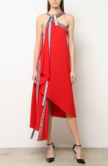 Grosgrain Tie Neck Asymmetrical Midi Dress, video thumbnail