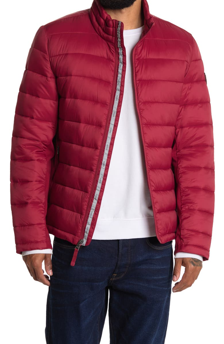 GUESS Packable Quilted Zip Jacket, Main, color, RED