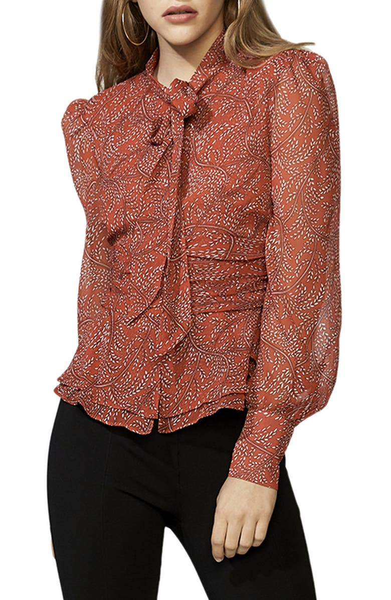 BARDOT Floral Tie Neck Blouse, Main, color, RED DITSY