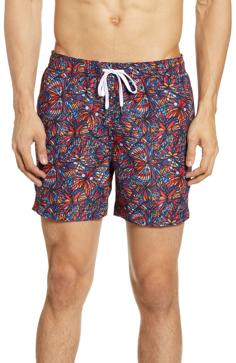ONIA Butterfly Print Swim Trunks, Main, color, MULTI