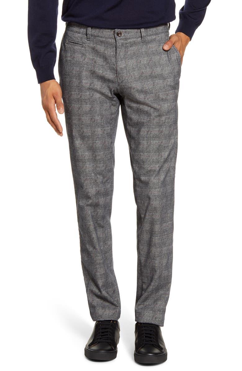 BRAX Woolook 2.0 Glen Plaid Flat Front Pants, Main, color, GRAPHIT