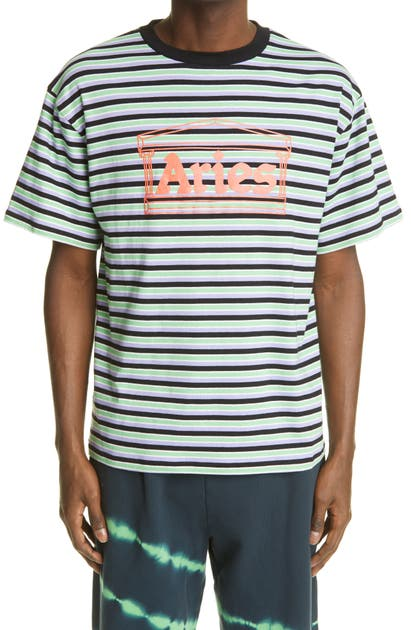 Aries Cottons TEMPLE LOGO STRIPE GRAPHIC TEE