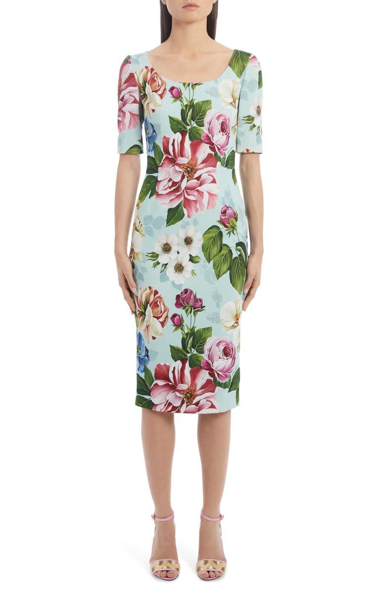 DOLCE&GABBANA Floral Print Cady Sheath Dress, Main, color, HC1AM BLUE FLORAL