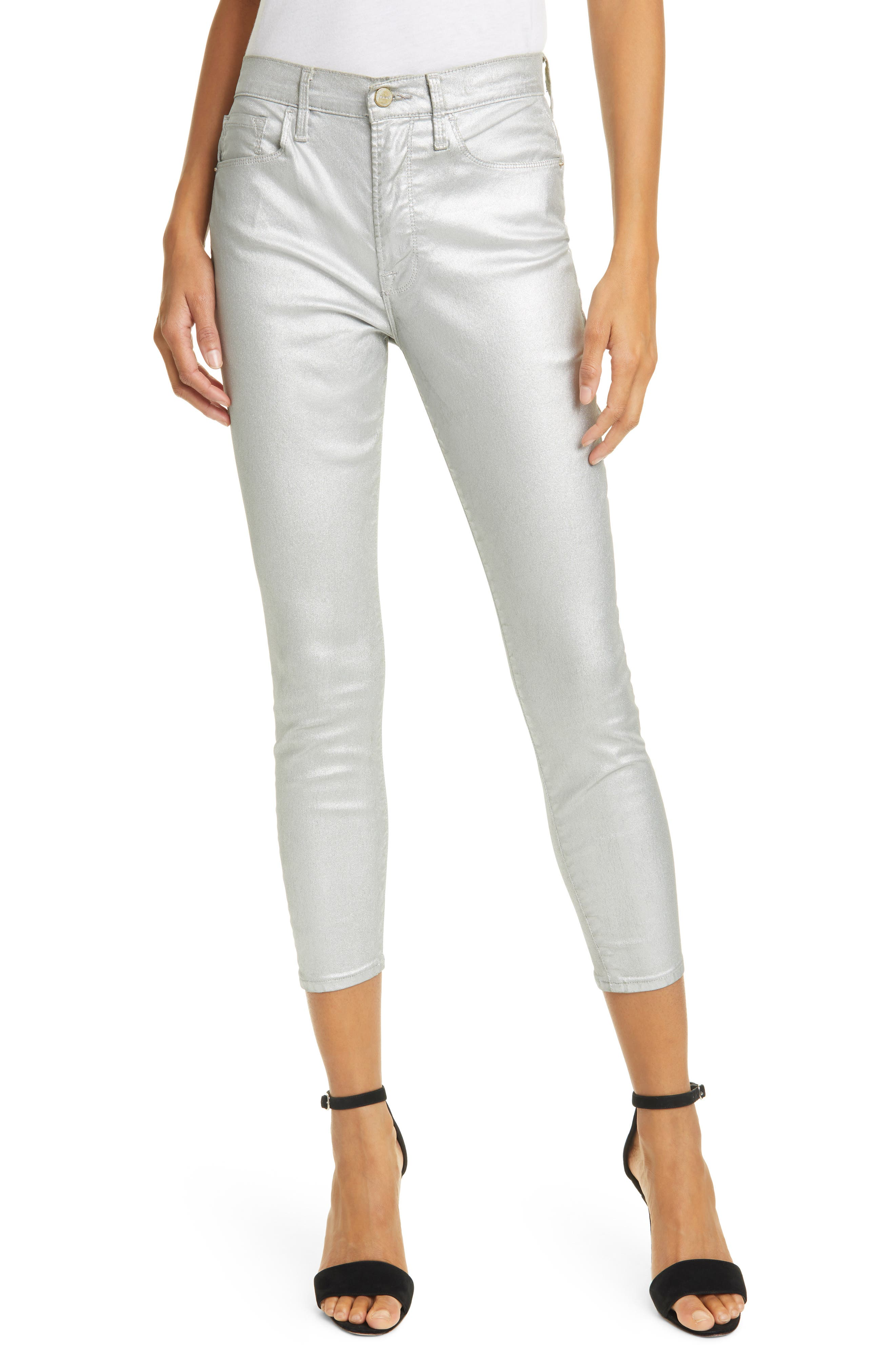Image of FRAME Ali Metallic High Rise Ankle Crop Skinny Jeans