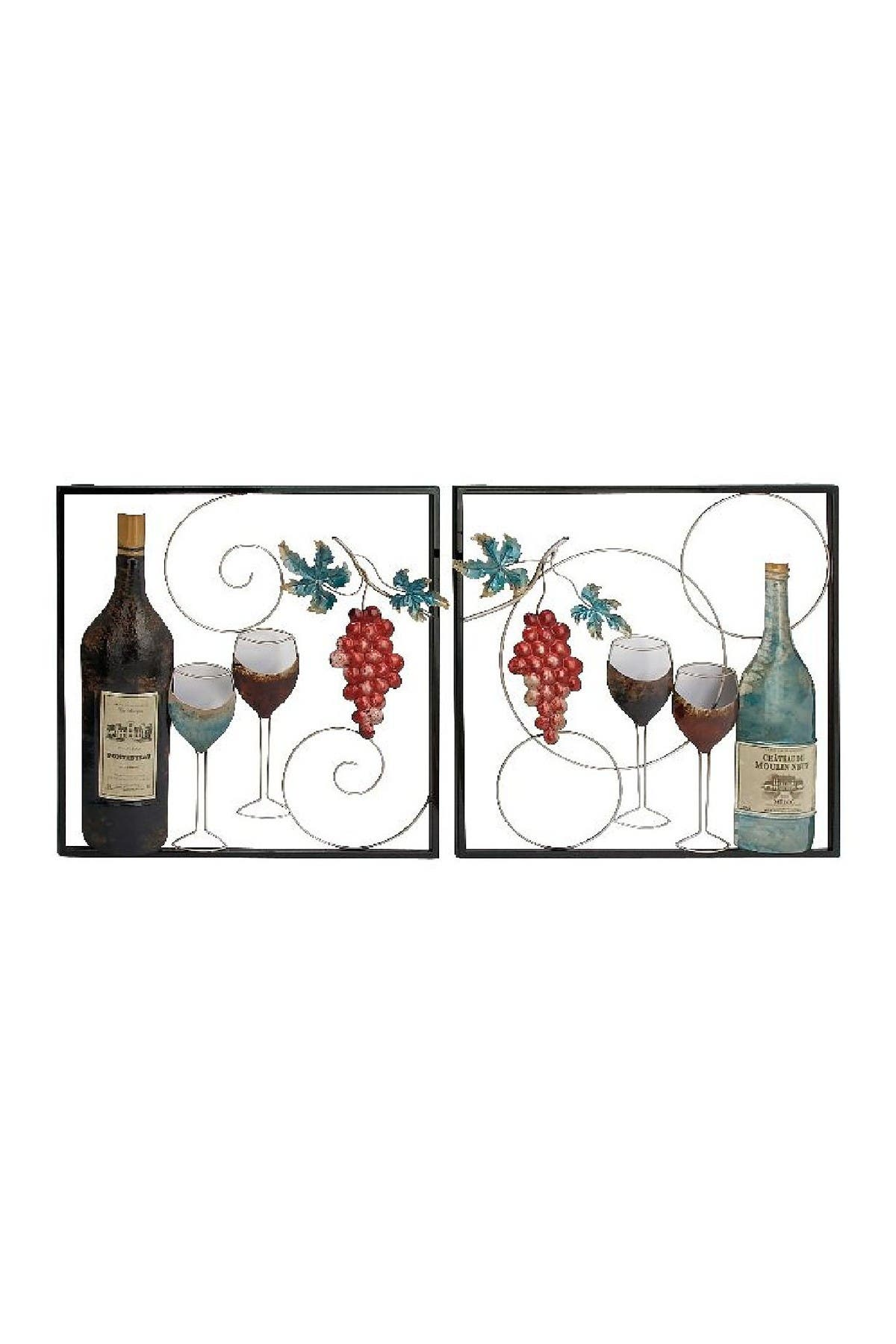 Image of Willow Row Traditional Framed Wine Bottle & Glasses Iron Wall Decor - Set of 2