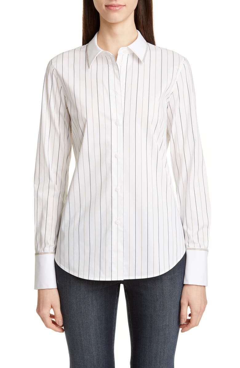 LAFAYETTE 148 NEW YORK Linley Sycamore Stripe Shirt, Main, color, CLOUD MULTI
