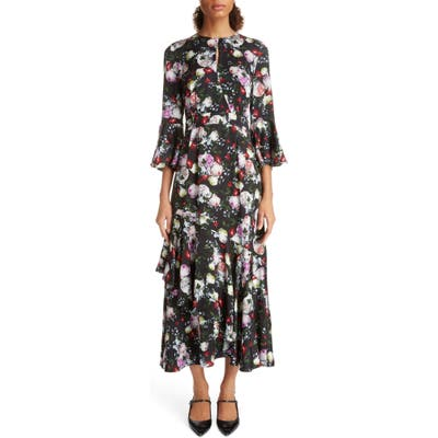 Erdem Ruffle Detail Floral Print Satin Midi Dress, US / 8 UK - Black
