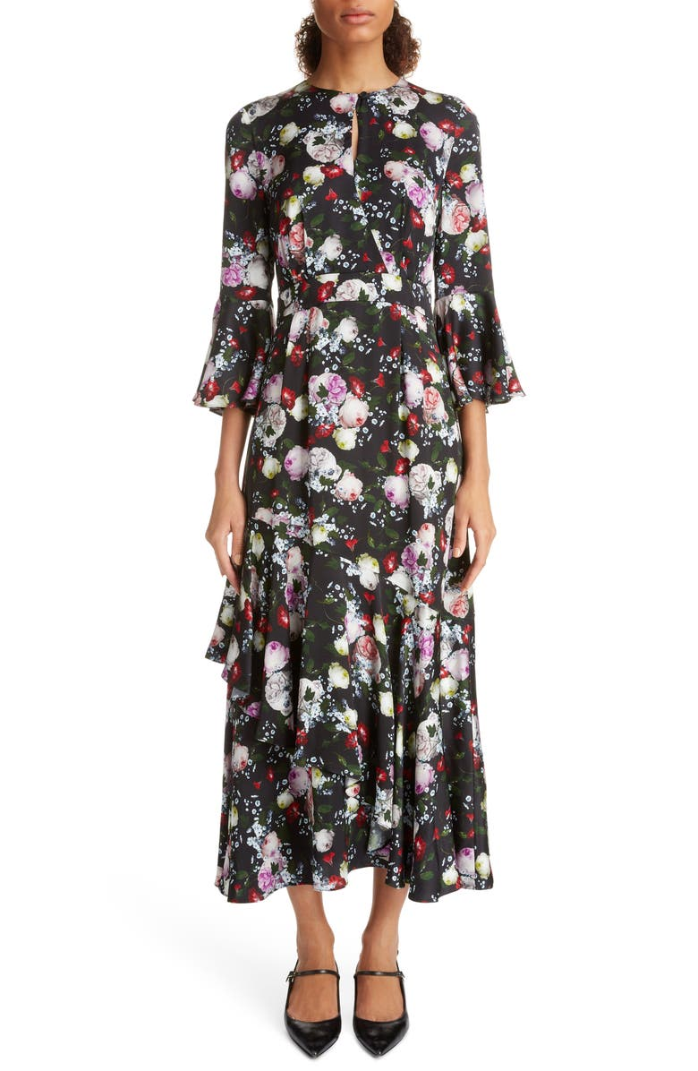 ERDEM Ruffle Detail Floral Print Satin Midi Dress, Main, color, BLACK/ MULTI